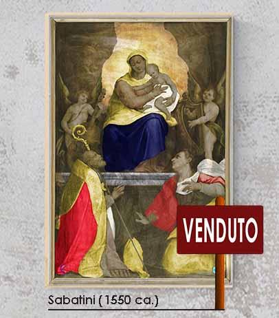 Madonna con Gesù Bambino, San Biagio e Santa Caterina d'Alessandria. Olio su tela. Lorenzo Sabatini, Lorenzino da Bologna 1550 ca.